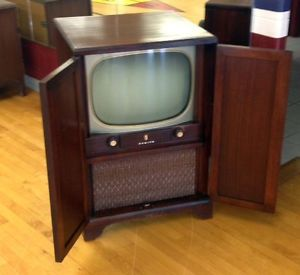 Antique Vintage Zenith Console Television Set with Closing Cabinet Doors