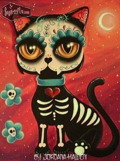 Original Day of The Dead Cat Painting Big Eye Art Sugar Skull Tattoo Cute Skull