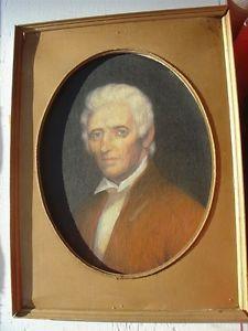 Vtg Daniel Boone Portrait Oil on Board Folk Art Painting Ohio Artist Hal Sherman