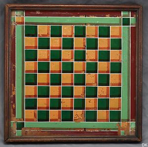 Antique Decorative Reverse Painting Chess Checkers Game Board American Folk Art