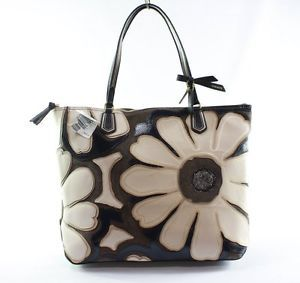 Coach Blue White Poppy Elevated Flower Leather Largre Tote Handbag Purse $498