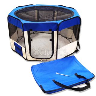 Wide Blue Pink 2 Door Soft Pet Playpen Dog Guinea Pig Puppy Exercise Pen Kennel