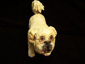 Folk Art Dog Papier Mache Sculpture Hand Formed Hand Painted Paper Mache Oak