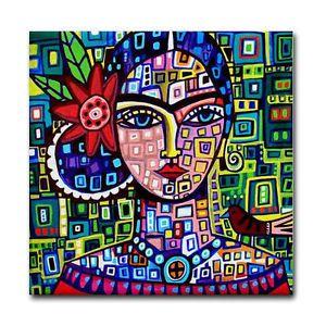 Frida Kahlo Tile Mexican Folk Art Ceramic Coaster Modern Geometric Shapes