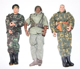 Lot of 3 Gi Joe Action Figures 12 inch with Clothing and Some Accessories