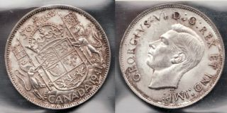 1941 Canadian Silver 50 Cent Coin Mint State