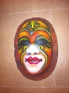 Sculpture Red Yellow Brown Multi Paper Mache Mask Face Wall Hanging Decor Art