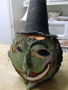 Vintage Lighted Paper Mache Witch Head Very Unusual Primitive Art