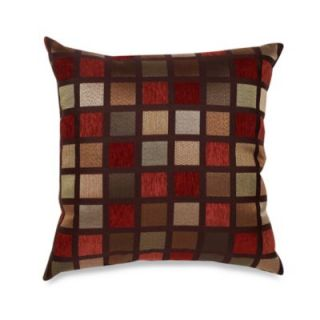 Windowpane 22 Inch Square Decorative Toss Pillow in Red