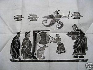Chinese Tibetan Temple Rubbing Art Rice Paper 26X25RARE