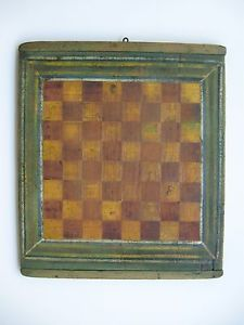 Late 19th C Early American Folk Art Gameboard Checker Game Board Old Paint