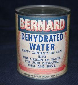 Original 1960s Bernard Food Industries Dehydrated Water Can Unopened Novel