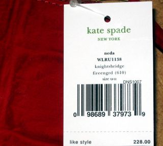 Kate Spade NY Fire Engine Red Knightsbridge Neda Zip Around Wallet $228 New