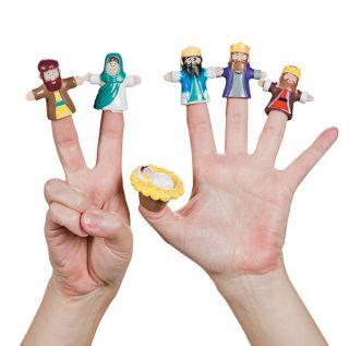 Nativity Finger Puppets 6pc Christmas Baby Jesus Mary Joseph 3 Wise Men