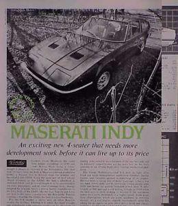 1970 70 Maserati Indy Original Old Vintage Road Test C My Store 5 Free SHIP