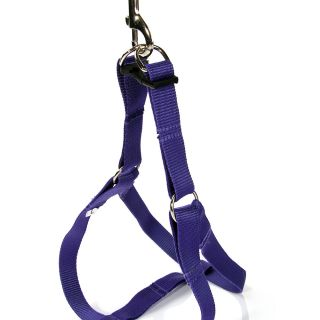 Purple Easy Walk Pet Dog Nylon Harness Leader with Pull Free Leashes Size S