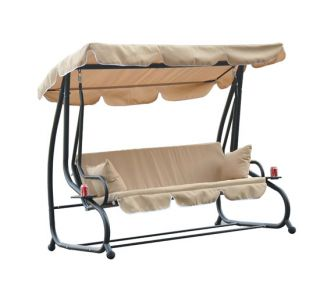 Outdoor Patio Metal Frame Porch Swing Bench Canopy Convertible Bed