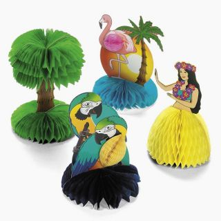 12 PC Tropical Hawaiian Luau Party Table Decor Hula Dancer Palm Tree Flamingo