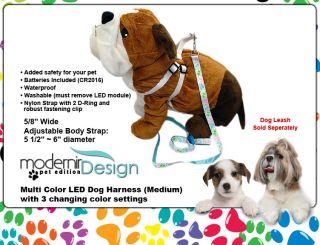Dog Harness Medium 7 Color LED Flashing Pet Rope Belt Safety Glow Leash Light