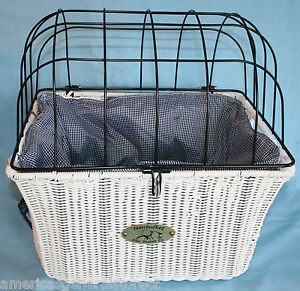 Nantucket Pet Basket Bicycle Bike Pannier Front Mount Dog Carrier Wicker White