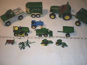 Large Lot of 11 John Deere Tractors Trailers Truck Horse Trailer Green