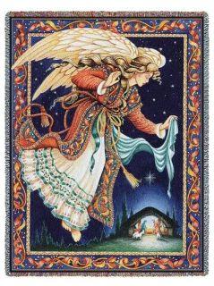 Christmas Guardian Angel Celestial Nativity Tapestry Throw Afghan Bed Blanket