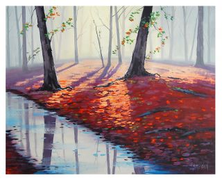 Large Red Forest Trees Original Oil Painting Gercken