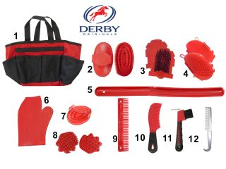Derby Originals Pro Horse Tack Grooming Kit 12 Items Super Deal Red