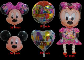 5pcs Mickey Minnie Mouse Happy Birthday Party Walking Foil Balloons Set Free Shi