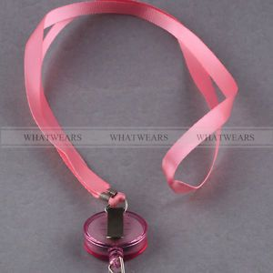 Pink Retractable Lanyard Reel Nylon Cord for ID Card Key Badge Holder
