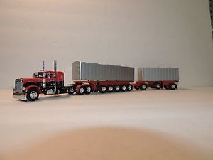 "DCP Red Black Peterbilt 379 36"" w Custom Styrene Michigan Gravel Train 1 64"