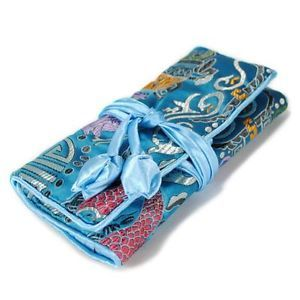 Silk Jewelry Travel Bag Roll Case Pouch Carrying Brocade Fabric Turquoise Zipper