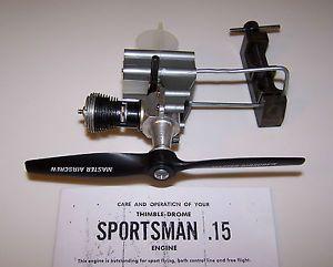 Cox Thimble Drome Piper COMANCHE Sportsman 15 Control Line Airplane Engine 1959