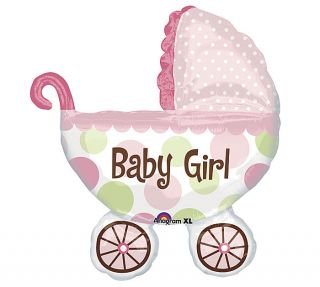 """Its A Girl Baby Buggy 31"""" Balloons Baby Shower New Baby Birth Free Ribbon"""