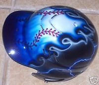 Airbrushed Batting Helmet Blue Flames Personalized New Baseball Softball