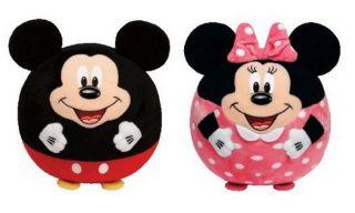 Ty Beanie Ballz 12'' Plush Disney Mickey Mouse Minnie Mouse Balls Large New