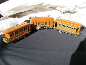 Pre War Lionel 248 Locomotive Set with 629 630 0 Gauge Orange Pullman Observtion