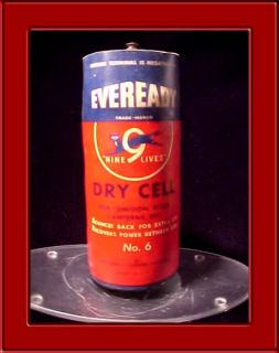 Vintage Eveready Battery for Ignition Bells Lanterns Dry Cell Union Carbide No 6
