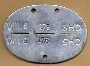 Original WWII German Wehrmacht ID Tag Dog Tag SHD Unit Luftwaffe