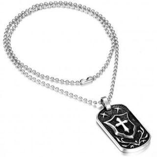 Black Silver Stainless Steel Cross Shield Dog Tag Pendant Necklace