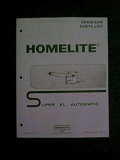 Homelite Super XL Automatic Chain Saw Parts Manual