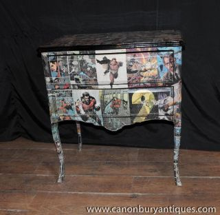Art Deco Comic Print Commode Chest Drawers Furniture