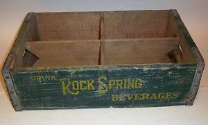 Vintage Rock Spring Beverages Shakopee Minn Wooden Soda Bottle Crate