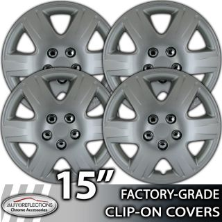 """2005 2008 Toyota Corolla 15"""" Silver Clip on Hubcaps Wheel Covers"""