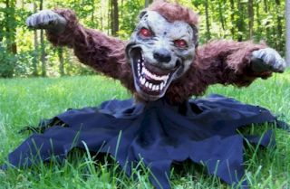 Animated Lunging Mad Demon Dog Zombie Werewolf Halloween Decoration Decor Prop