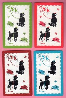4 Single Swap Playing Cards Cutest Poodle Dogs on Leashes Vintage Set x 4 Deco