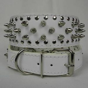 "2"" White Rows Spiked Studded Leather Pitbull German Shepherd Dog Collar s 17 20"""