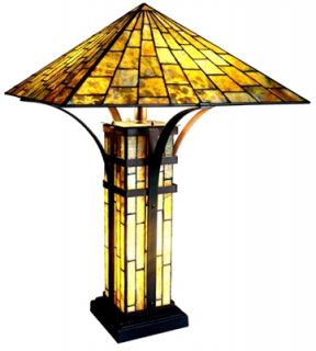 Mission Design Tiffany Style Stained Glass Lamp with A Lighted Base