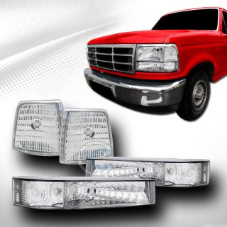 DEPO CHROME CLEAR SIGNAL PARKING CORNER LIGHTS LAMPS 92-96 F150 F250 F350 BRONCO