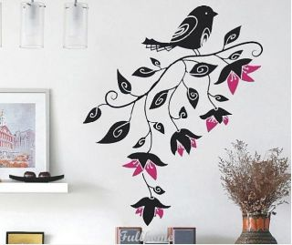 Removable Black Trees Flower Birds Room Decals Vinyl Decal Wall Stickers